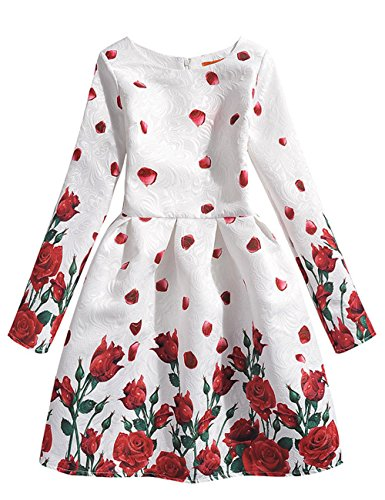21KIDS Rose Flowers Girl Wedding Party Autumn Long Sleeve Dresses,10,Long Sleeve-rose