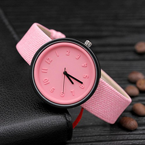 LtrottedJ Unisex Simple Fashion Number Watches,Quartz Canvas Belt Wrist Watch (Number Buckle)