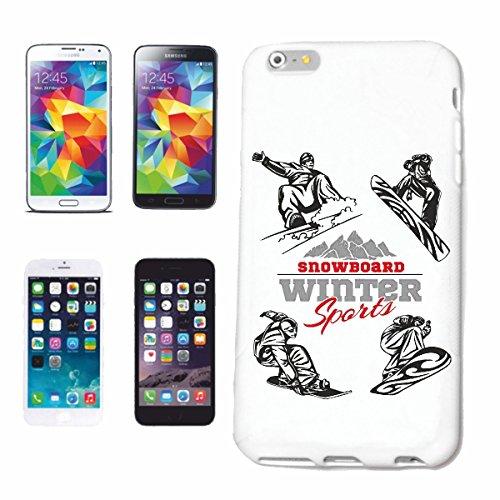 """cas de téléphone iPhone 6+ Plus """"SILHOUETTE SNOWBOARD SNOWBOARD RIDER SNOWBOARDER WINTER SPORT PISTES"""" Hard Case Cover Téléphone Covers Smart Cover pour Apple iPhone en blanc"""