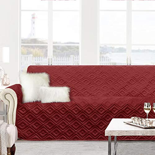 (DriftAway Marley 100% Waterproof Furniture Protector Quilted Sofa Cover for 3 Seats Cushion Couch, Dog Couch Cover,Slip Cover Throw for Kids, Pets,Cats,Dogs,Machine Washable - Red (Sofa))