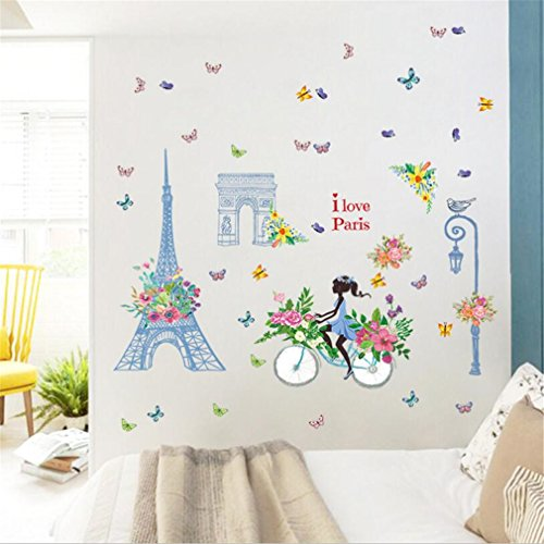 Paris Eiffel Tower Triumphal Arch Fairy Wall Stickers Window Film Elf Girl Princess Wall Decals Butterfly Flowers Dancing Girls Angel Wings Wall Decor Windows Bedroom Living Room(Blue Fairy)