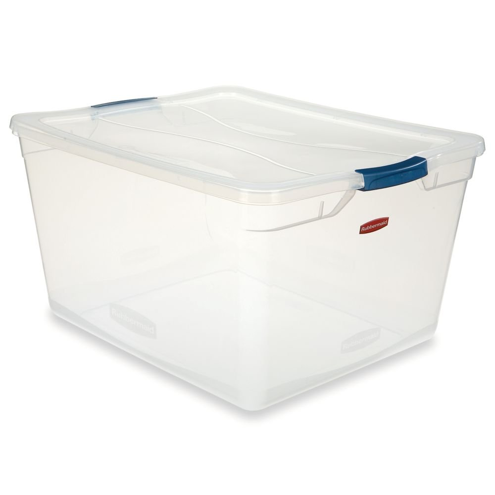 Rubbermaid Clever Store Latching Storage Tote Container, Clear, 71-quart (FG3Q3200CLMCB)