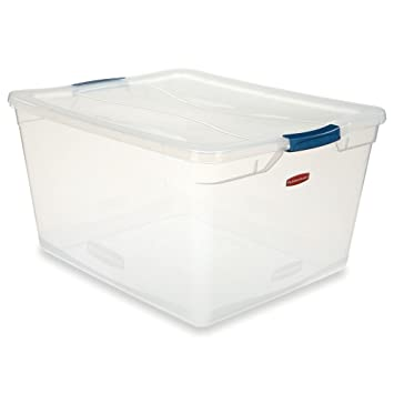 Rubbermaid Clever Store Latching Storage Tote Container, Clear, 71 Quart  (FG3Q3200CLMCB)