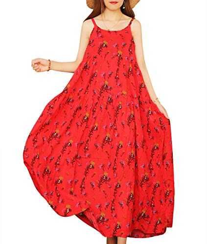 YESNO Women Casual Loose Bohemian Floral Print Empire Waist Spaghetti Strap Long Maxi Summer Beach Swing Dress XS-5X E75