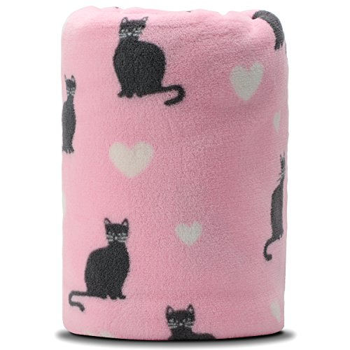 Cat Fleece Throw (COSMOZ Pink Cat White Heart Pattern Pink Background Soft Lightweight Coral Fleece 230GSM Blanket Throw 50