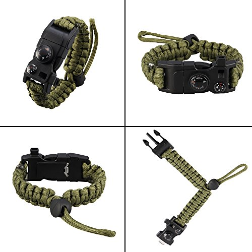 Survival-Bracelet-Paracord-Bracelet-Adjustable-Featured-Outdoor-Paracord-Survival-Bracelet-WhistleCompass-Temp-Fire-Starter-Functional-Tool-for-Hiking-Camping-Hunting-Army-Green