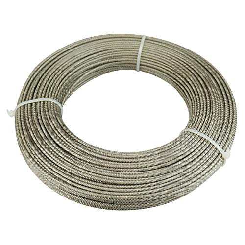 Muzata Wire Rope Crystal Vinyl Coated Galvanized Steel 1/8 Cable 65 Feet for Railing Decking Stair Balustrade DIY,7x7 Strand WR12,Series WP1 WC1