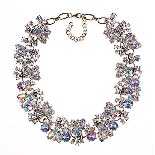 (Lovage Azhido Bling Rhinestone Crystal Choker Collar Necklace Short Bib Statement Chunky Jewelry (Multi-AB))