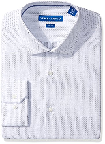 Vince Camuto Men's Slim Fit Dress Shirt, Indigo/White Dobby Stripe, 15.5