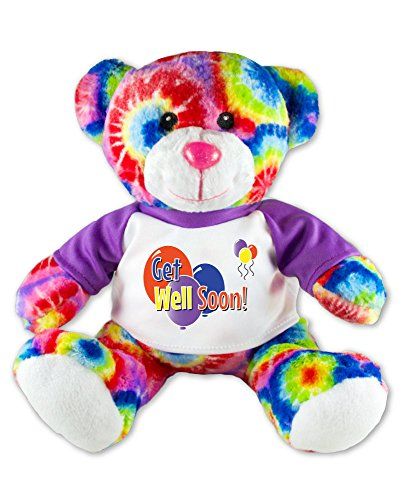 Get Well Soon Teddy Bear Tie Dye Plush Message T-Shirt 9 - Hut Get