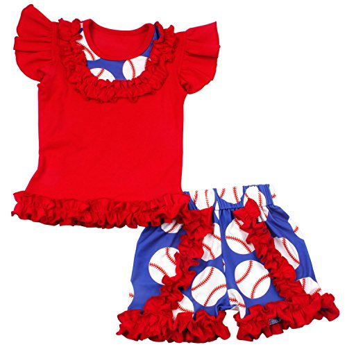 Baby Girls Short Set Summer Cotton Printed Baseball Clothing Set Girls Boutique Outfits 7T]()