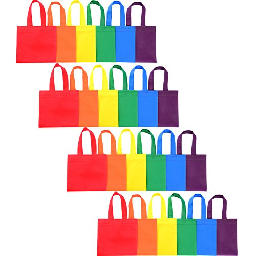 Shappy 24 Pack 6 Colors Party Gift Bags Favor Tote Bags Non-woven Treat Bags with Handles for Christmas Party Favor Gifts, 8 by 8 Inches by Shappy