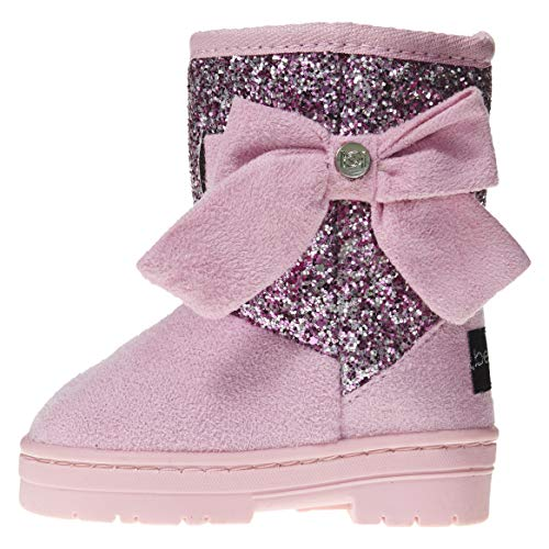 bebe Toddler Girls Microsuede Glitter Winter Boots Size 6 with Bow Comfort Slip-On Shoes Light Pink