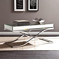Southern Enterprises Ava Mirrored Cocktail Table, Chrome Frame Finish