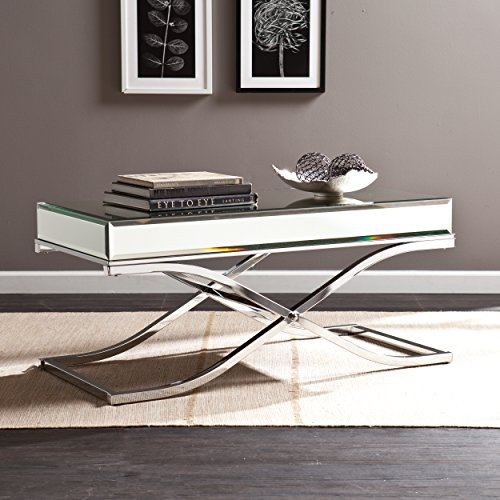 Ava Mirrored Cocktail Table - Chrome Frame Finish - Contemporary Glam Style