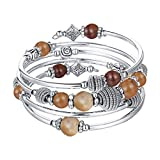 Pearl&Club Beaded Chakra Bangle Turquoise Bracelet - Fashion Jewelry Wrap Bracelet with Thick Silver Metal and Mala Beads, Birthday Gifts For Women (Brown)