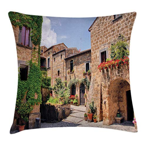 (Ambesonne Farm House Decor Throw Pillow Cushion Cover by, Italian Streets in Countryside with Traditional Brick Houses Old Tuscan Prints, Decorative Square Accent Pillow Case, 20 X 20 Inches, Multi)