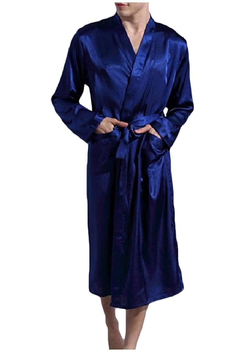 RDHOPE-Men Long-Sleeve with Pockets Comfy Solid Colored Belted Spa Robe