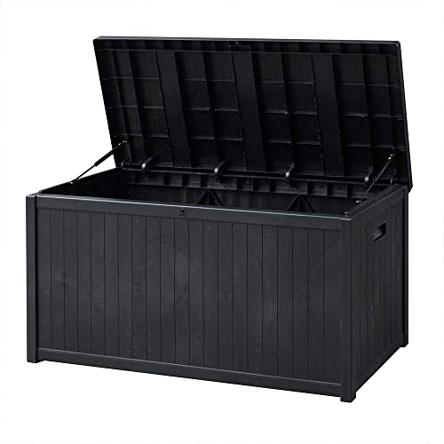 SUNVIVI OUTDOOR Outdoor Deck Storage Box, Patio Waterproof Storage Bin Outdoor Cushion Storage 120 Gallon Black