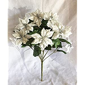 "17"" Silver Lame 12 Poinsettias Bush Silk Wedding Decoration Flowers Artificial Arrangement Centerpiece Christmas 85"