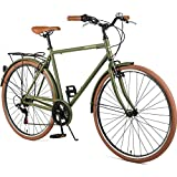 Retrospec Westridge Beaumont-7 Seven Speed Men's Urban City Commuter Bike, Matte Olive Drab, 54cm/Medium