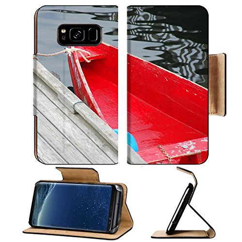 Liili Premium Samsung Galaxy S8 Flip Pu Leather Wallet Case IMAGE ID: 462835 Old red row boat tied to a pier in Perkins Cove - Row Perkins