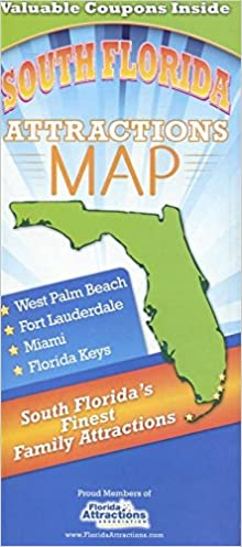Florida Attractions Map.South Florida Attractions Map 2017 Huge Foldout Coupons Maps