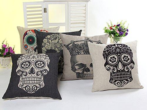 5 PCS 18'' Vintage Black&Colourful Sugar Skull Linen