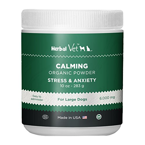 Herbal Vet Dog Calming Powder For Stress & Anxiety Relief Infused with Hemp Oil Extract - For Large Dogs(10 OZ) -Certified Organic By ECO - Made In USA In a Human Grade Facility (10 OZ for large dogs)