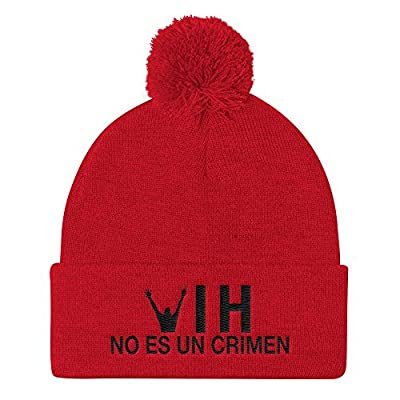 HIV is Not a Crime Pom Pom Hat Knit Beanie Cap - Spanish One Size Red