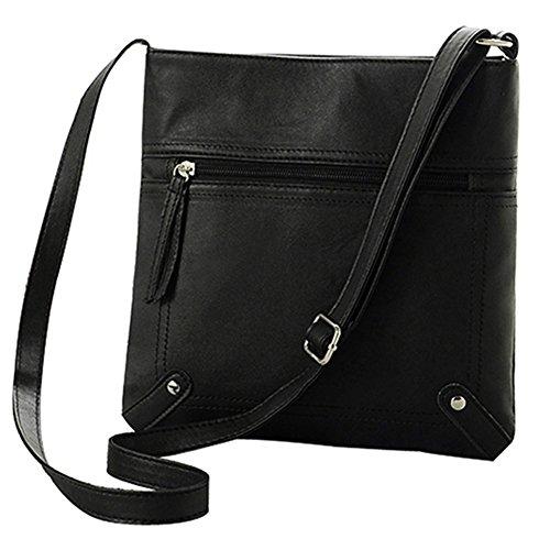 timeracing Fashion Casual Women Girl Simple Faux Leather Handbag Satchel Cross Body Bag Messgaer Bag (Black) Black