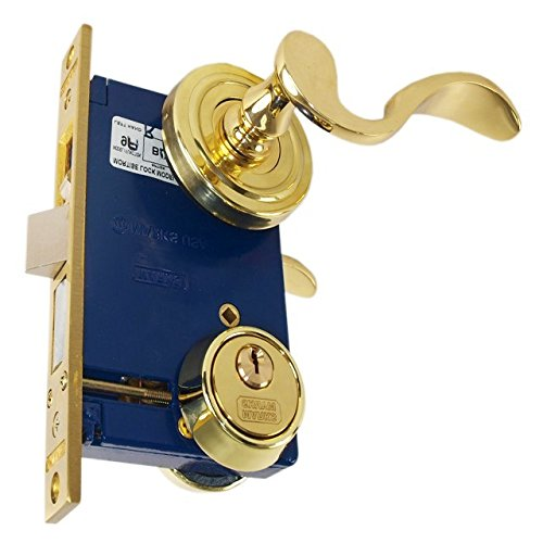 Marks 9225AC/3 Polished Brass US3 Double Cylinder Ornamental Lever Rose Mortise Entry Iron Gate Door Lock Set (Right Hand Reverse (from outside out swing)) ()