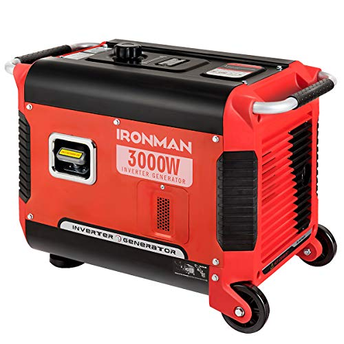 Goplus Inverter Generator Portable Gas-Powered Generator CARB Compliant w/Eco-Mode, Convenient Handle, Dual 120V AC Outlet, 12V DC Output (Red 3000W)