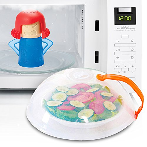 Eutuxia Microwave Cleaner + Cover Bundle. Perfect for Covering Plates, Bowls, and Cups to Prevent Food & Liquid Splatters While Microwaving. Angry Mama Steam Cleans & Disinfects with Vinegar & Water. (Best Way To Clean Microwave With Vinegar)