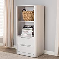 Latitude Run Plemons Standard Bookcase with Drawer for Storage (White)