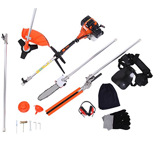 Iglobalbuy 5 in 1 52CC Multifunctional 2-Stroke Petrol Brush Cutter Grass Trimmer Chainsaw Hedge Trimmer Extension pole