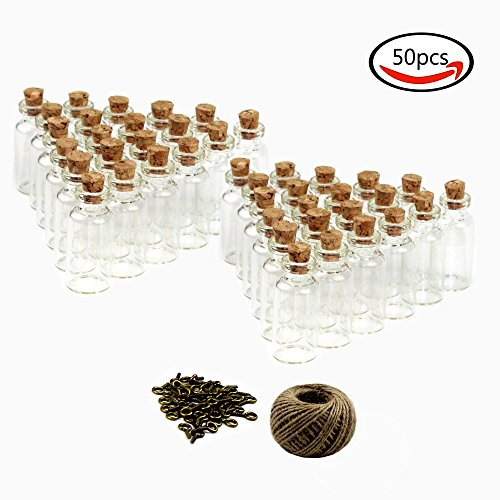 LoveS Small Mini Glass Bottles/Jars with Cork Stoppers & 30 Meters Twine