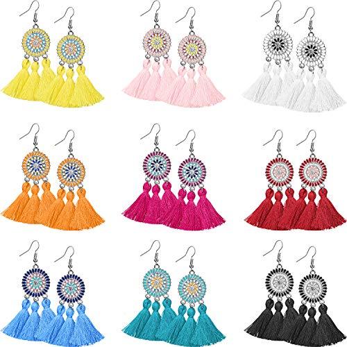 9 Pairs Tassel Hoop Earrings Bohemia Fan Shape Drop Earrings Dangle Hook Eardrop for Women Girls Party Bohemia Dress Accessory (Multicolor F)
