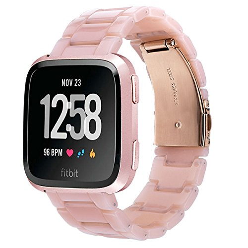 V-MORO Compatible Fitbit Versa/Fitbit Blaze Band Women Men - Fashion Resin Versa Wristbands Replacement Bracelet Metal Stainless Steel Rose Gold Buckle Fitbit Versa Smart Watch ()