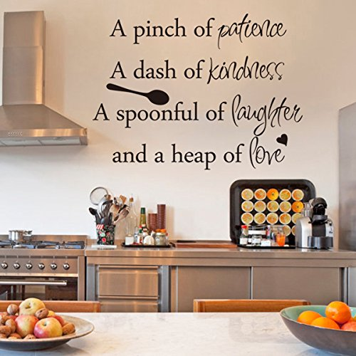 Inspirational Wall Sticker Quotes Words Art Removable Kitchen Dining Room Decal Mural Vinyl Home Decor A Pinch Of PatienceA Dash Kindness