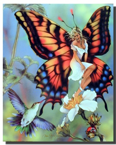 Fantasy Wall Decor Fairy Butterfly & Flower Picture Fine Art Print Poster (16x20)
