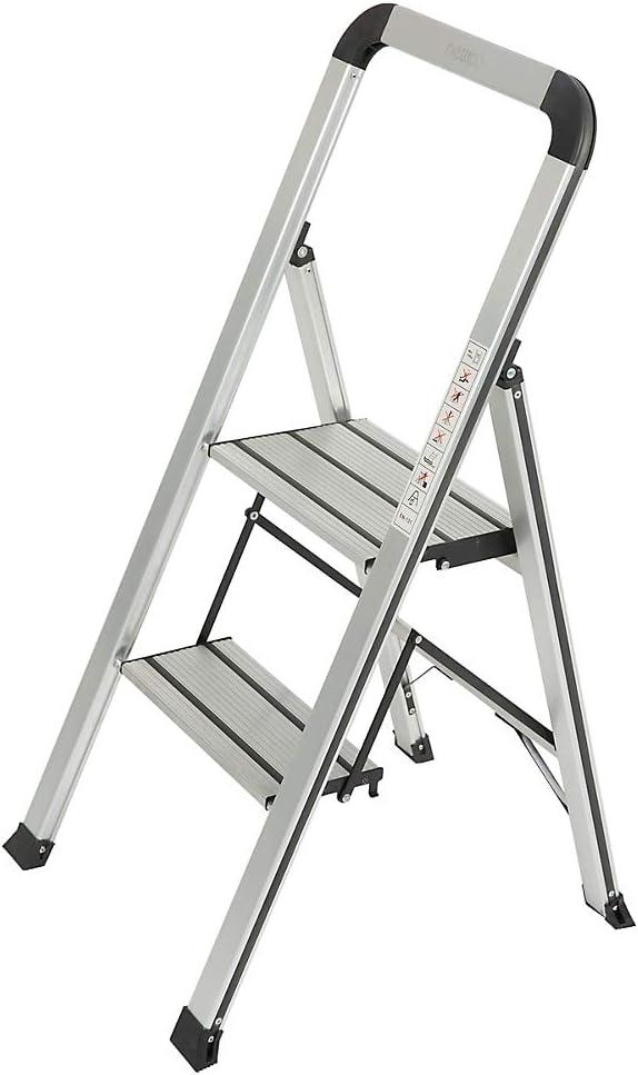 Newpo Escalera de aluminio, 2 peldaños, 150 kg de carga, altura de 48 cm, escalera de tijera para el hogar, escalera plegable, escalera plegable: Amazon.es: Oficina y papelería