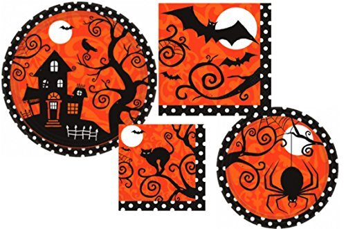 Frightfully Fancy Halloween Party Supply Pack! Bundle Includes Paper Plates and Napkins for 18 Guests -