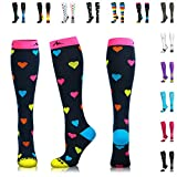 NEWZILL Compression Socks (20-30mmHg) for Men & Women - Best Stockings for Running, Medical, Athletic, Edema, Diabetic, Varicose Veins, Travel, Pregnancy, Shin Splints. (Heart, Medium)