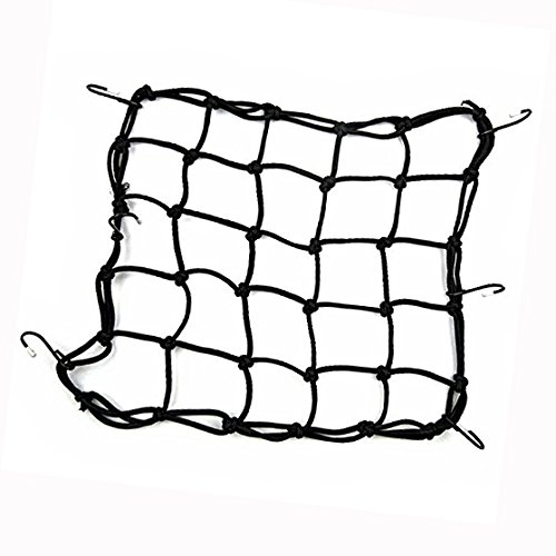 Binnan Multi-Purpose Heavy-duty Elasticated Bungee Luggage Cargo Net for Motorcycle Bike Equipment Cargo with Adjustable Hooks (Black)