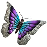 "Butterfly Wall Decor - 3D Metal Design - Hand-Painted - 16"" x 12"" - Modern Home Decoration - Indoor or Outdoor Use – Wall Art in Beautiful Purple Tones"