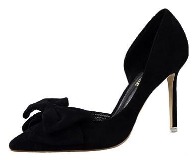 59124cbf42ac Passionow Women s D Orsay Style Pointy Pumps Classic Stiletto Heel Bowtie High  Heel Velvet Shoes