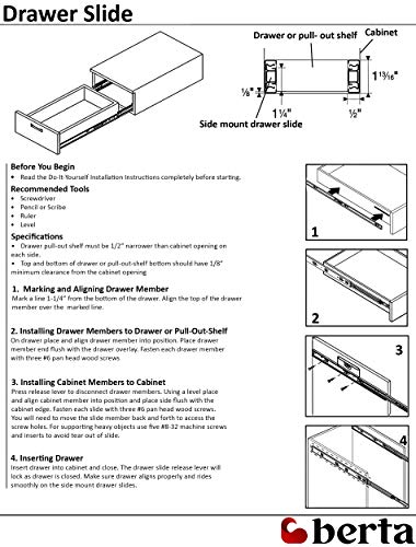 10 Pack Berta Full Extension Soft/Self Close Ball Bearing Side Mount Drawer Slides 16-Inch 100Lb Load Rating (10 Pairs) by Berta (Image #4)