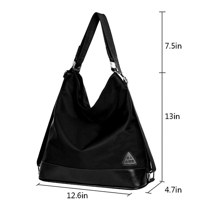 Mily Womens Nylon Waterproof Shoulder Bag Backpack Hand Bag Cross Body Bag Good for Travel Black