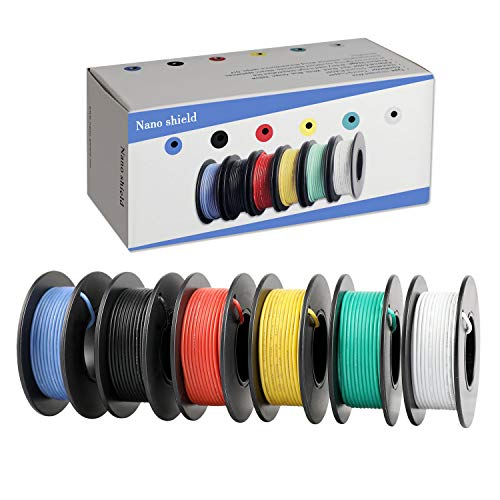Wire Awg 14 Silicone (Hook-up Stranded Wire 24 AWG with UL3132, Nano Shield 6 Colors (26ft Each) Flexible 14 Gauge Silicone Wire Rubber Insulated Electrical Wire, 300V Tinned Copper Electric Cable for DIY)